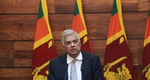 COLOMBO, April 23, 2019 (Xinhua) -- Sri Lankan Prime Minister Ranil Wickremesinghe speaks at a press conference in Colombo, Sri Lanka, April 23, 2019. Sri Lankan Prime Minister Ranil Wickremesinghe said on Tuesday that authorities are making progress in identifying the culprits of the series of bombing attacks and evidence had been found on foreign links of the attacks. At a press conference in Temple Trees, Wickremesinghe said that authorities are looking at the claim by Islamic State (IS) that they are responsible for the blasts that killed more than 300 people and injured over 500 others. (Xinhua/Yang Zhou/IANS) by .