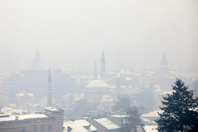 SARAJEVO, Jan. 9, 2019 (Xinhua) -- Photo taken on Jan. 9, 2019 shows the smog-shrouded city of Sarajevo, Bosnia and Herzegovina. After a week of clean air, Sarajevo has been shrouded in heavy air pollution as of Wednesday early morning, with the daily averages of polluted particles eight times more than prescribed values. (Xinhua/Nedim Grabovica/IANS) by .