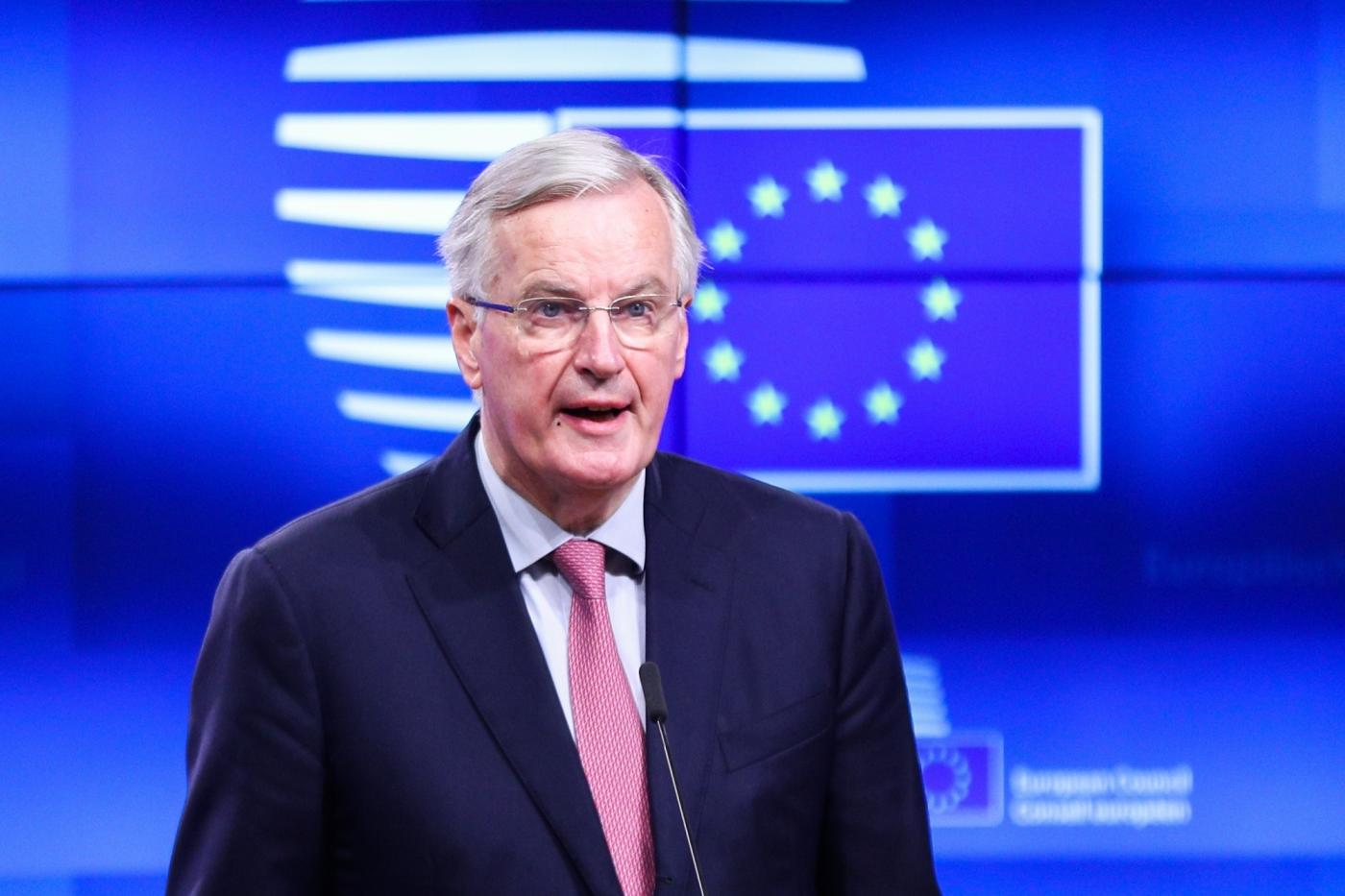 "BRUSSELS, Nov. 15, 2018 (Xinhua) -- European Union's chief negotiator Michel Barnier speaks at a press conference at the European Council in Brussels, Belgium, Nov. 15, 2018. A European Council meeting is expected on Nov. 25 in order to ""finalize and formalize the Brexit agreement,"" European Council President Donald Tusk told reporters Thursday. (Xinhua/Zheng Huansong/IANS) by ."