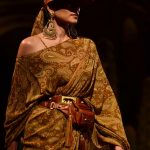 """New Delhi: A model showcases """"Kashgaar Bazaar"""" collection, a creation by fashion designer Sabyasachi Mukherjee on the 20th year celebrations of his brand """"Sabyasachi"""", in New Delhi, on April 6, 2019. (Photo: IANS) by ."""