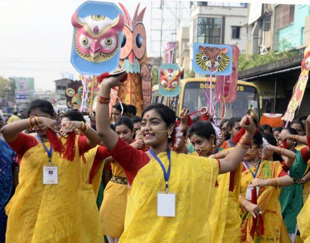 Kolkata: People participate in 'Mangal Shobhajatra' procession on Poyla Baishakh - Bengali New Year, in Kolkata, on April 15, 2019. (Photo: IANS) by .