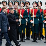 VLADIVOSTOK, April 24, 2019 (Xinhua) -- Top leader of the Democratic People's Republic of Korea (DPRK) Kim Jong Un attends the welcome ceremony in Vladivostok, Russia, April 24, 2019. Kim Jong Un arrived here in his train on Wednesday for his first meeting with Russian President Vladimir Putin on Thursday. (Xinhua/Bai Xueqi/IANS) by .