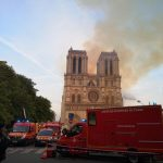 PARIS, April 15, 2019 (Xinhua) -- Rescuers gather near the Notre Dame Cathedral in central Paris, capital of France, on April 15, 2019. A blaze broke out on Monday afternoon at the Notre Dame Cathedral in central Paris where firefighters were still fighting to put the fire under control, Paris Mayor Anne Hidalgo said. (Xinhua/Yang Yimiao/IANS) by .
