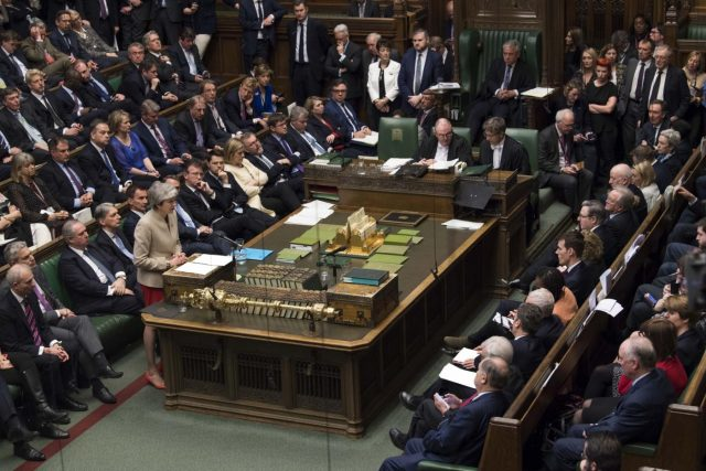 LONDON, March 29, 2019 (Xinhua) -- British Prime Minister Theresa May speaks during the debate in the House of Commons in London, Britain, on March 29, 2019. British lawmakers on Friday voted to reject Prime Minister Theresa May's Brexit deal, which has already been rejected twice in Parliament since January. (Xinhua/UK Parliament/Mark Duffy/IANS) by .