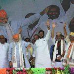 Darbhanga: Prime Minister Narendra Modi accompanied by Bihar Chief Minister Nitish Kumar, Deputy Chief Minister Sushil Kumar Modi and Union Minister Ram Vilas Paswan, waves to crowd during a public rally in Darbhanga, Bihar, on April 25, 2019. (Photo: IANS) by .