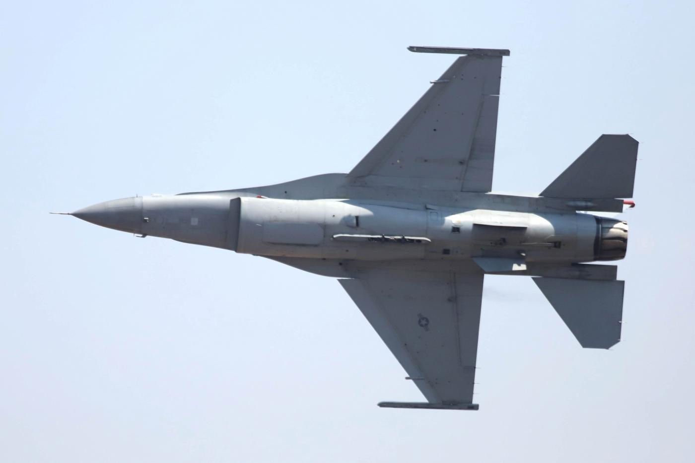 "Bengaluru: A F-16 fighter jet at ""Aero India 2019"" - air show at Yelahanka Air Force Station, in Bengaluru, on Feb 20, 2019. (Photo: IANS) by ."