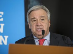 "GENEVA, Feb. 26. 2019 (Xinhua) -- United Nations Secretary-General Antonio Guterres delivers a speech after the High-Level Pledging Event for the Humanitarian Crisis in Yemen in Geneva, Switzerland, on Feb. 26, 2019. United Nations Secretary-General Antonio Guterres on Tuesday described the pledging conference for humanitarian aid for war-plagued Yemen a ""success"" after donation assurances reached 2.6 billion U.S. dollars, up from 2 billion U.S. dollars in 2018. (Xinhua/Xu Jinquan/IANS) by ."