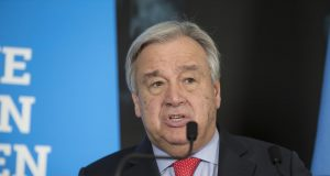 """GENEVA, Feb. 26. 2019 (Xinhua) -- United Nations Secretary-General Antonio Guterres delivers a speech after the High-Level Pledging Event for the Humanitarian Crisis in Yemen in Geneva, Switzerland, on Feb. 26, 2019. United Nations Secretary-General Antonio Guterres on Tuesday described the pledging conference for humanitarian aid for war-plagued Yemen a """"success"""" after donation assurances reached 2.6 billion U.S. dollars, up from 2 billion U.S. dollars in 2018. (Xinhua/Xu Jinquan/IANS) by ."""