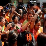 Kolkata: BJP workers celebrate after the party pulled off a stunning and historic victory in the 2019 Lok Sabha battle, at West Bengal BJP headquarters in Kolkata on May 24, 2019. (Photo: Kuntal Chakrabarty/IANS) by .