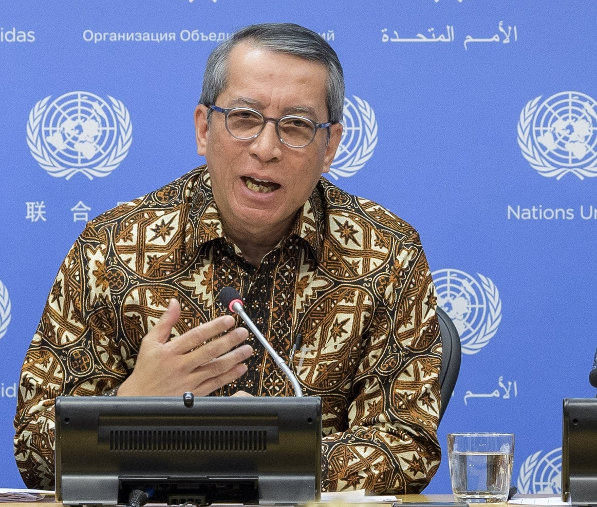 Dian Triansyah Djani, Indonesia's Permanent Representive to the United Nations, who chairs the Security Council sanctions committee that added Jaish-e-Mohammad chief Masood Azhar to list of international terrorists, speaks to reporters at the UN on Wednesday, May 1, 2019. (Photo: UN/IANS) by .