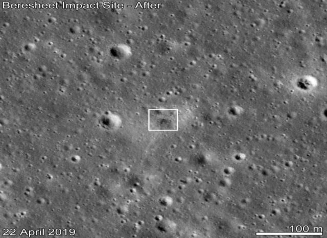Beresheet impact site as seen by LROC 11 days after the attempted landing. Date in lower left indicates when the image was taken. (Credits: NASA/GSFC/Arizona State University) by .