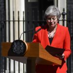 LONDON, May 24, 2019 (Xinhua) -- British Prime Minister Theresa May speaks to the media outside 10 Downing Street in London, Britain on May 24, 2019. Theresa May said on Friday that she will quit as Conservative leader on June 7, paving ways for contest to decide Britain's next prime minister. (Xinhua/Alberto Pezzali/IANS) by .
