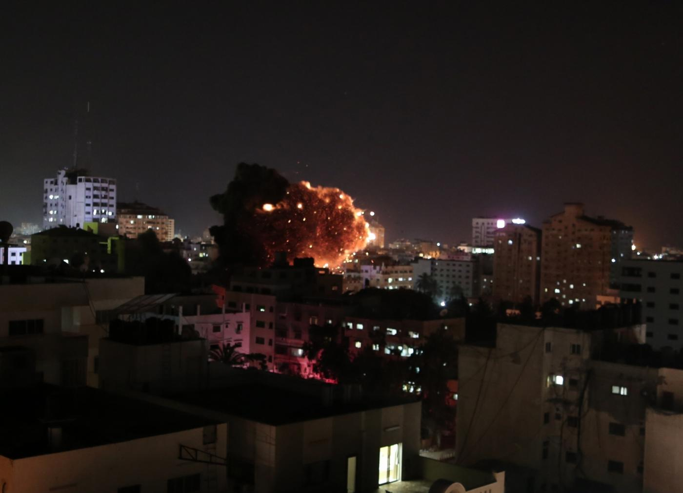 GAZA, May 4, 2019 (Xinhua) -- The photo taken on May 4, 2019 shows an explosion during an Israeli airstrike on Gaza City. The death toll on Saturday increased to four and more than 20 others were wounded during the ongoing Israeli army airstrikes on the Gaza Strip. (Xinhua/Yasser Qudih/IANS) by .