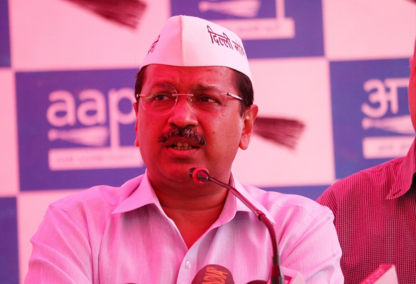 New Delhi: Delhi Chief Minister Arvind Kejriwal addresses a press conference regarding the attack on him during a road show on 4th May, in West Delhi; in New Delhi, on May 5, 2019. (Photo: IANS) by .