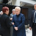 VILNIUS, May 7, 2019 (Xinhua) -- Lithuanian President Dalia Grybauskaite (2nd R) talks with a staff member of the polling station after casting her vote in the presidential elections and the dual citizenship referendum in Vilnius, Lithuania, May 7, 2019. Advance voting kicked off on Monday in the Lithuanian presidential elections and referendums on dual citizenship and the number of parliament members. For the first time in Lithuania, the advance voting is held for five days. (Xinhua/Guo Mingfang/IANS) by .