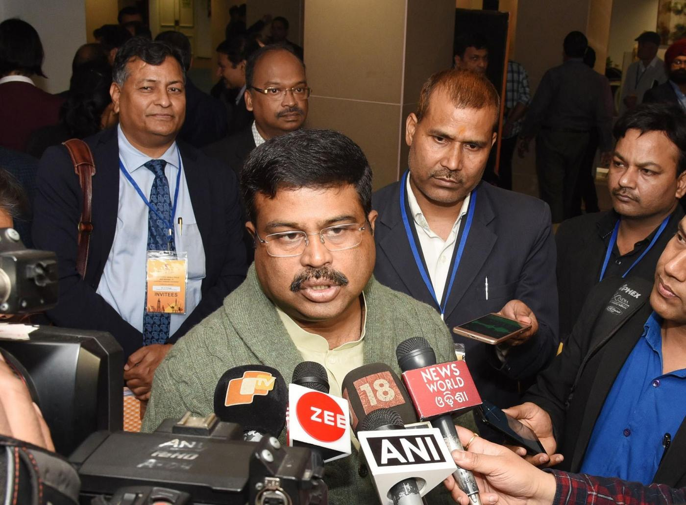New Delhi: Union Petroleum and Natural Gas and Skill Development and Entrepreneurship Minister Dharmendra Pradhan talks to media person after the contract signing ceremony of Discovered Small Field (DSF) Bid Round-II, in New Delhi, on March 7, 2019. (Photo: IANS/PIB) by .