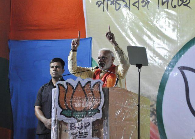 Dum Dum: Prime Minister Narendra Modi addresses a public rally in West Bengal's Dum Dum on May 16, 2019. (Photo: Kuntal Chakrabarty/IANS) by .