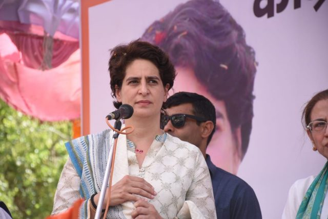 Unnao: Congress General Secretary (Uttar Pradesh East) Priyanka Gandhi Vadra during a public rally organised ahead of the 2019 Lok Sabha elections, in Uttar Pradesh's Unnao on April 27, 2019. (Photo: IANS) by .