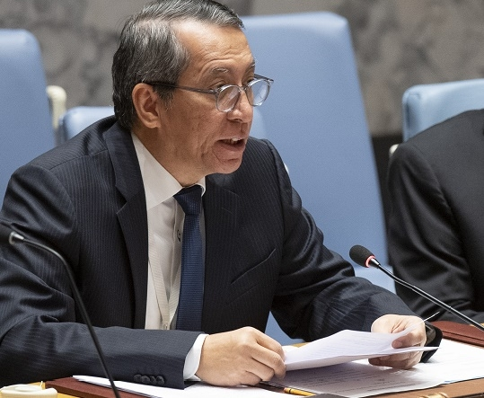 United Nations Security Council President Dian Triansyah Djani of Indonesia to the United Nations, who heads the committees on Islamic State and al-Qaeda and on preventing terrorists obtaining weapons of mass destruction, briefs the Council on Monday, May 20, 2019. (Photo: UN/IANS) by .