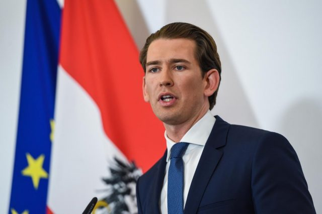 VIENNA, May 18, 2019 (Xinhua) -- Austrian Chancellor Sebastian Kurz delivers a press statement in Vienna, Austria, on May 18, 2019. Austrian Chancellor Sebastian Kurz on Saturday called for a snap election after his vice-chancellor Heinz-Christian Strache resigned over an alleged corruption video. (Xinhua/Guo Chen/IANS) by .
