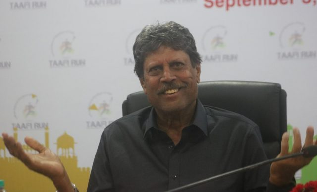 New Delhi: Former Indian cricketer and Lieutenant Colonel in the Territorial Army Kapil Dev addresses a press conference regarding 'TAAFI Run' - the official National Marathon Of India by Indian Territorial Army and Athletics Federation of India; in New Delhi on Sept 3, 2018. (Photo: IANS) by .