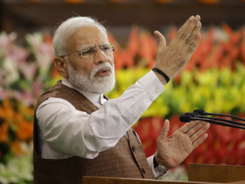 Prime Minister Narendra Modi addresses during NDA Parliamentary Board meeting at the Central Hall of Parliament, in New Delhi on May 25, 2019. (Photo: Amlan Paliwal/IANS) by .