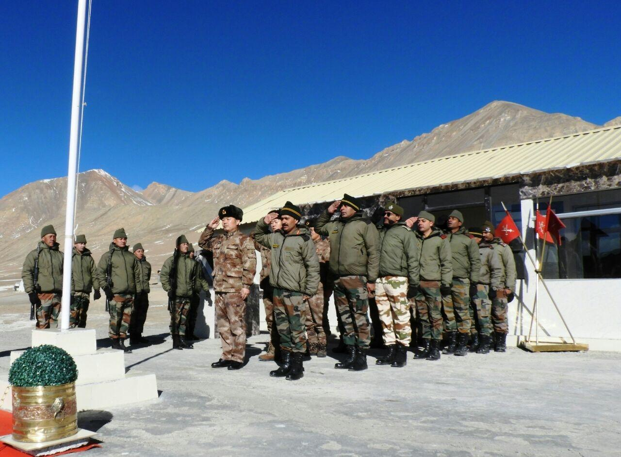 Ladakh: Indian and Chinese army personnel during ceremonial border meeting (BPM) to mark India's 69th Republic Day at Daulat Beigh Oldi (DBO) in Ladakh region on Jan 26, 2018. (Photo: IANS/DPRO) by .