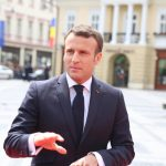 """SIBIU, May 9, 2019 (Xinhua) -- French President Emmanuel Macron arrives in the Grand Square in front of the Sibiu City Hall to attend the European Union (EU) informal summit in Sibiu, Romania, May 9, 2019. The leaders of the EU member states on Thursday agreed on defending """"one Europe"""" and upholding the rules-based international order in their """"10 commitments"""" declaration, made at an informal summit in Sibiu. (Xinhua/Chen Jin/IANS) by ."""