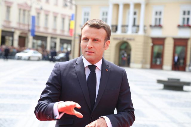 SIBIU, May 9, 2019 (Xinhua) -- French President Emmanuel Macron arrives in the Grand Square in front of the Sibiu City Hall to attend the European Union (EU) informal summit in Sibiu, Romania, May 9, 2019. The leaders of the EU member states on Thursday agreed on defending