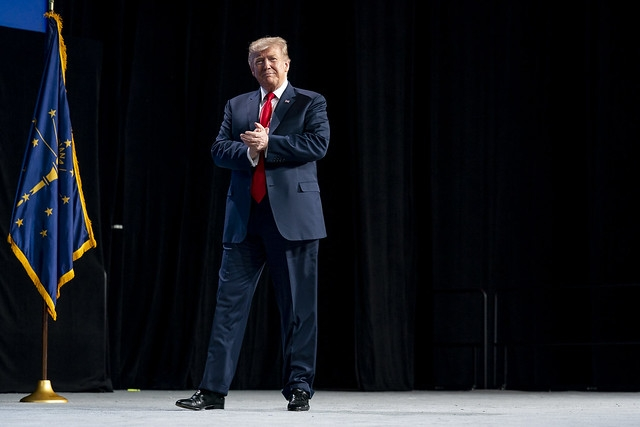 United States President Donald Trump speaks at the annual meeting of the National Rifle Association on Friday, April 26, 2019. He announced that the US was pulling out of the Arms Trade Treaty. (Photo: White House/IANS) by .