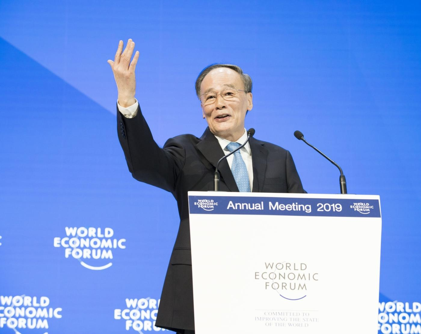 DAVOS, Jan. 23, 2019 (Xinhua) -- Chinese Vice President Wang Qishan addresses the 2019 annual meeting of the World Economic Forum in Davos, Switzerland, on Jan. 23, 2019. (Xinhua/Huang Jingwen/IANS) by .