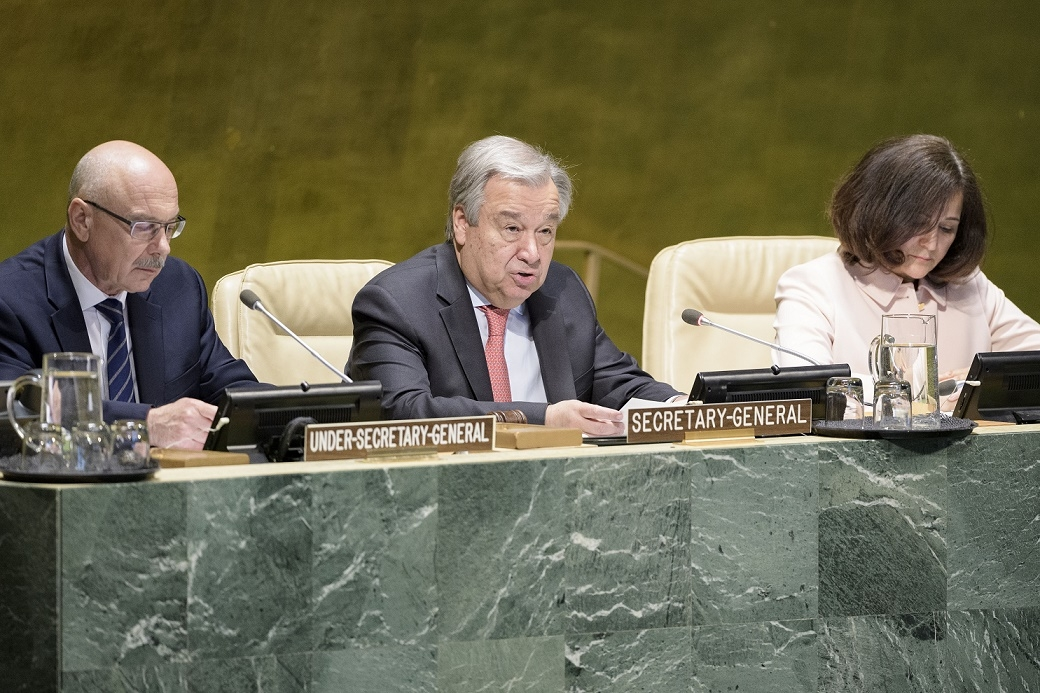 United Nations Secretary-General Antonio Guterres, flanked by Vladimir Voronkov, Under-Secretary-General of the UN Office of Counter-Terrorism, left, and Atefeh Riazi, Assistant Secretary-General for Information and Communications Technology, speaks at the high-level event to launch the UN Countering Terrorist Travel Programme on Tuesday, May 7, 2019. (Photo: UN/IANS) by .