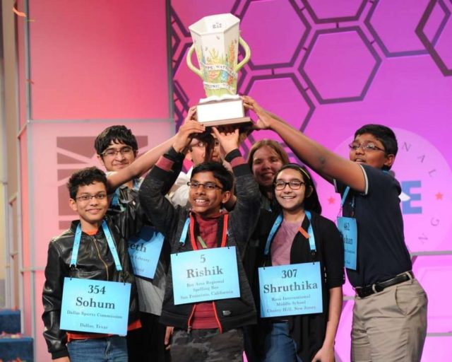 The eight co-champions of the United States 2019 National Spelling Bee competition. Each of them won $50,000 and a trophy. (Photo: Mark Bowen/Scripps National Spelling Bee) by .