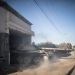 TRIPOLI, May 16, 2019 (Xinhua) -- A tank of UN-backed government forces is seen in Al-Sawani frontline near Tripoli airport in Tripoli, Libya, on May 16, 2019. At least six civilians were reported killed and five more injured in an apparent airstrike in populated areas of the Libyan capital of Tripoli, Stephane Dujarric, spokesman for UN Secretary-General Antonio Guterres, said on Thursday. (Xinhua/Amru Salahuddien/IANS) by Amru Salahuddien.