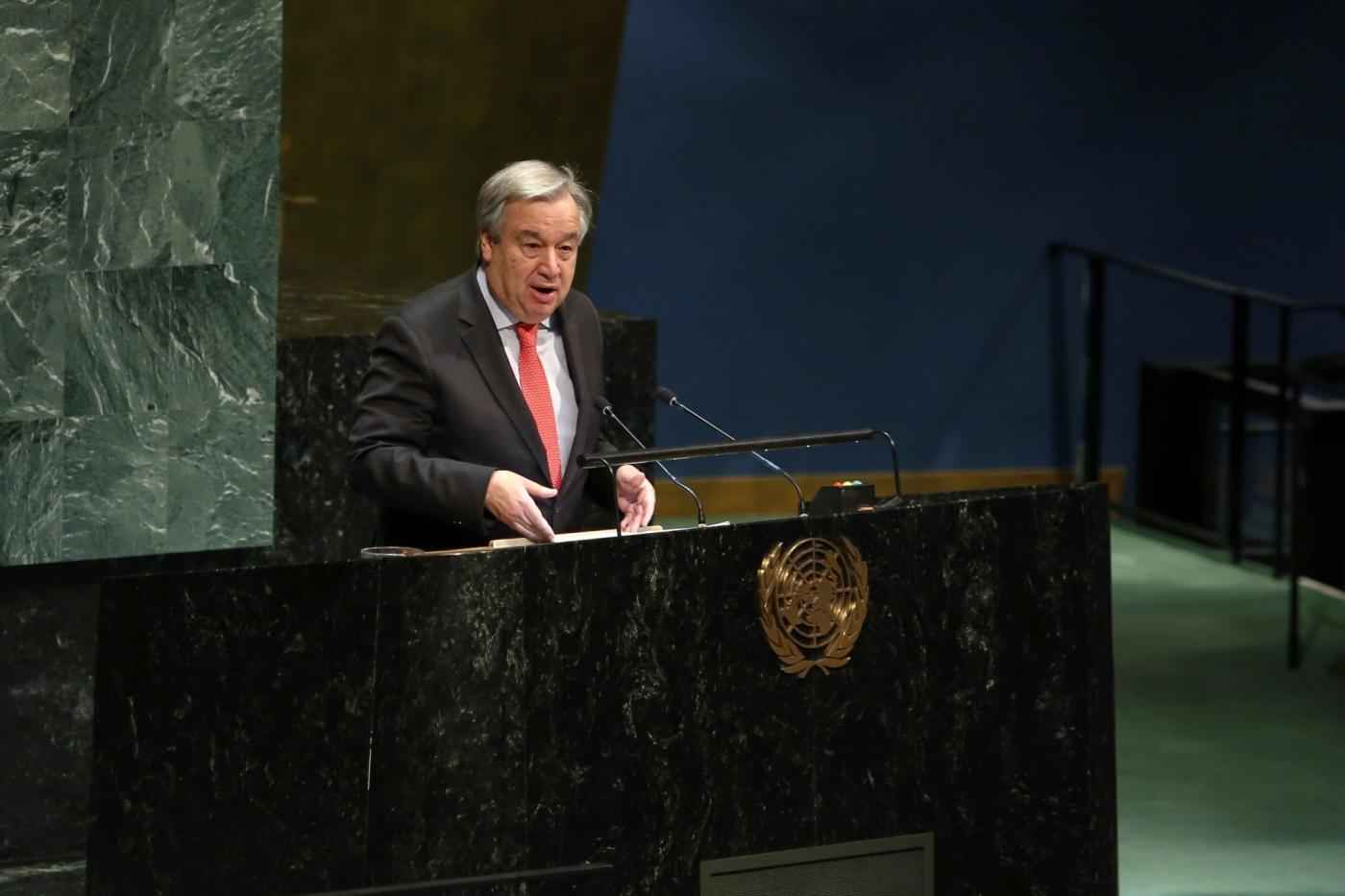 UNITED NATIONS, March 11, 2019 (Xinhua) -- United Nations Secretary-General Antonio Guterres addresses the opening of the 63rd Session of the Commission on the Status of Women (CSW63), at the UN headquarters in New York, March 11, 2019. United Nations Secretary-General Antonio Guterres on Monday warned that there is a