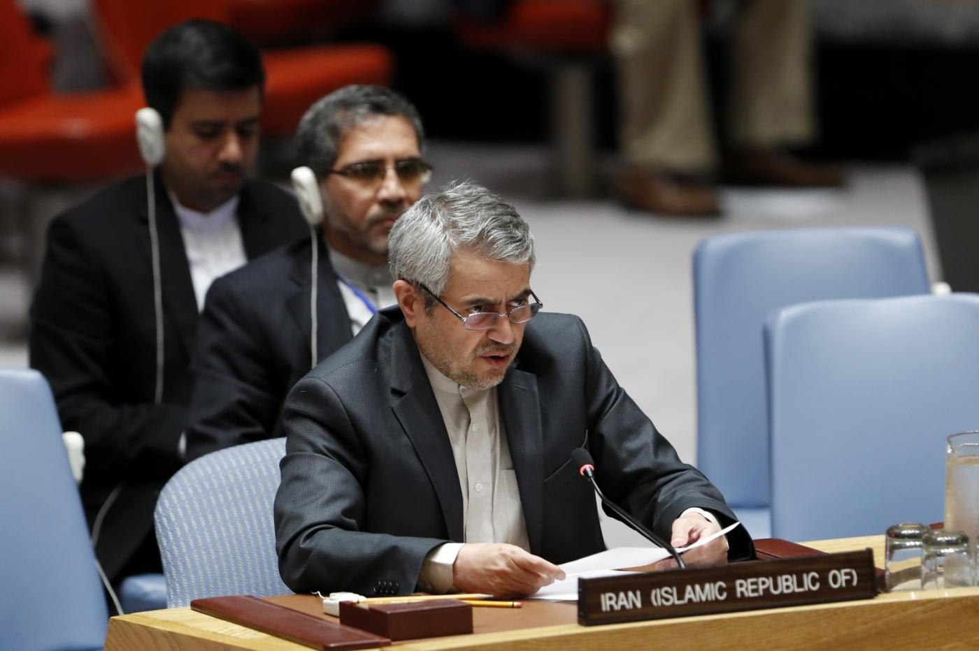 UNITED NATIONS, Sept. 12, 2018 (Xinhua) -- Iran's ambassador to the United Nations (UN) Gholamali Khoshroo (Front) speaks at a Security Council meeting on the situation in Syria's Idlib province at the UN headquarters in New York, on Sept. 11, 2018. As a seemingly imminent full-scale offensive on Syria's Idlib province looms, the UN Security Council on Tuesday remained deeply divided, prompting a no-escalation plea from Secretary-General Antonio Guterres. (Xinhua/Li Muzi/IANS) by .