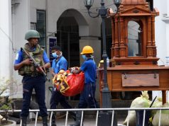 COLOMBO, April 27, 2019 (Xinhua) -- Workers clear away debris and shattered glass amid tight security outside St. Anthony's Church, one of the targets in a series of bomb blasts targeting churches and luxury hotels on Sunday in Colombo, Sri Lanka, on April 27, 2019. (Xinhua/A. Hapuarachchi/IANS) by A.HAPUARACHCHI.