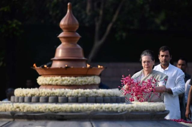 New Delhi: UPA chairperson Sonia Gandhi accompanied by Congress President Rahul Gandhi, pays homage to her husband, former Prime Minister Rajiv Gandhi on his death anniversary, in New Delhi, on May 21, 2019. (Photo: IANS) by .