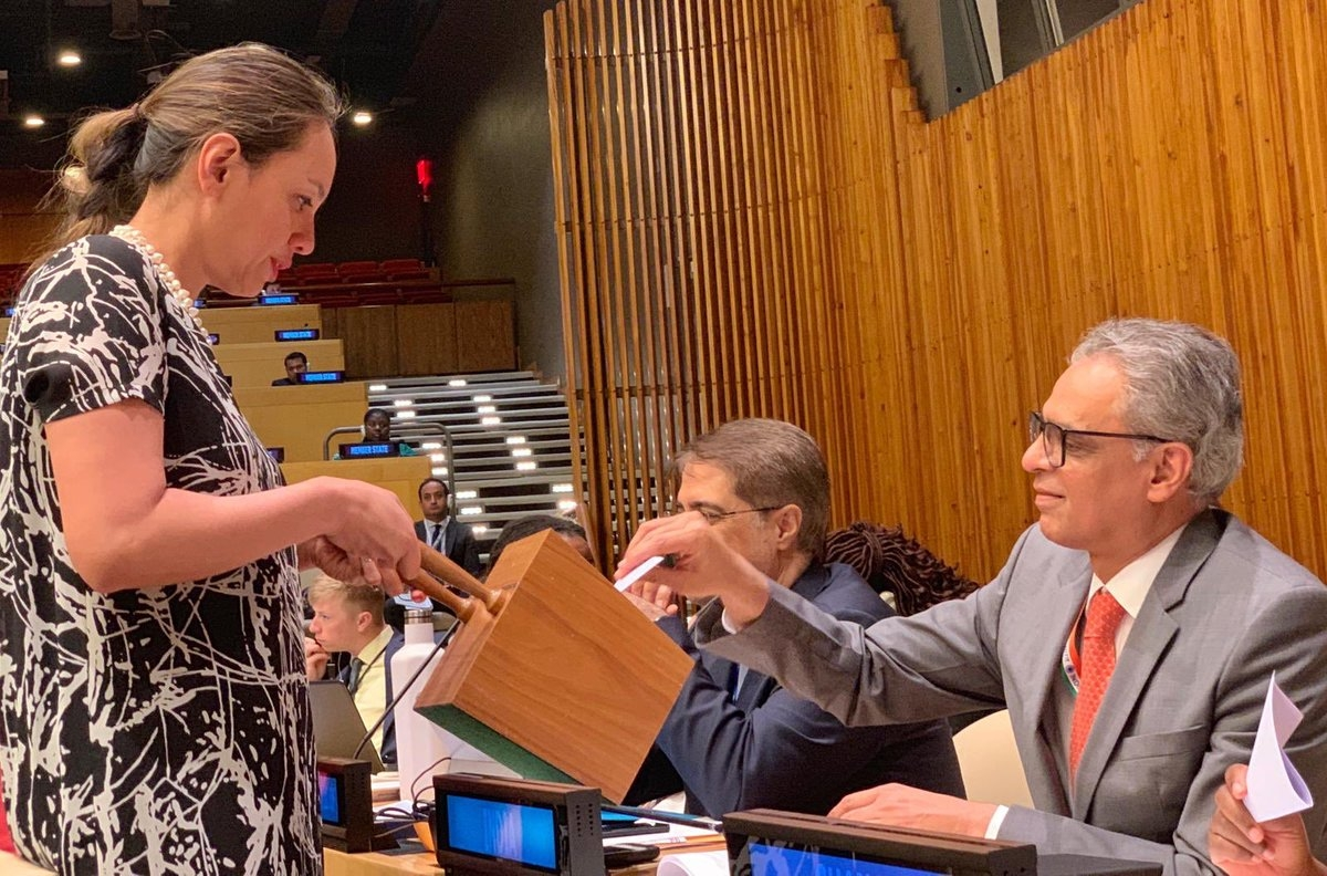 India's Permanent Representative Syed Akbaruddin votes on Tuesday, May 7, 2019, in the election of members of the International Narcotics Control Baord. Jagjit Pavadia of India was re-elected with the highest number of votes. (Photo: Indian Mission/IANS) by .