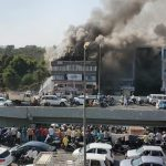 Surat: Fire fighting operations underway after a massive fire broke out at a coaching centre atop a four-storey building, in Sarthana area of Gujarat's Surat on May 24, 2019. 17 students were killed in the incident. (Photo: IANS) by .