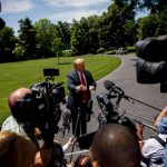 """WASHINGTON D.C., May 25, 2019 (Xinhua) -- U.S. President Donald Trump speaks to reporters before leaving the White House in Washington D.C., the United States, on May 24, 2019. Donald Trump said on Friday that his country will send about 1,500 additional troops to the Middle East amid escalating tension with Iran. Trump told reporters at the White House that the extra deployment, which is """"relatively small number of troops,"""" is mainly a protective measure. (Xinhua/Ting Shen/IANS) by Ting Shen."""