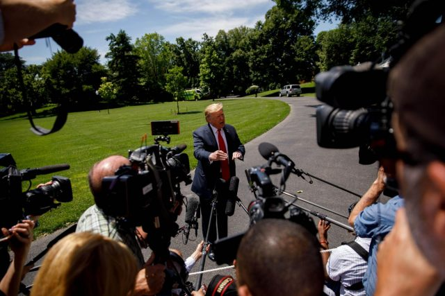 WASHINGTON D.C., May 25, 2019 (Xinhua) -- U.S. President Donald Trump speaks to reporters before leaving the White House in Washington D.C., the United States, on May 24, 2019. Donald Trump said on Friday that his country will send about 1,500 additional troops to the Middle East amid escalating tension with Iran. Trump told reporters at the White House that the extra deployment, which is