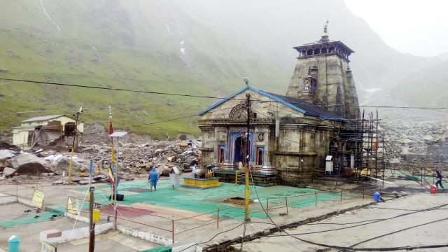 Kedarnath: A view of deserted Kedarnath Temple as pilgrims were stopped after fears mounted that the incessant rain could trigger landslips on July 11, 2015. (Photo: IANS) by .