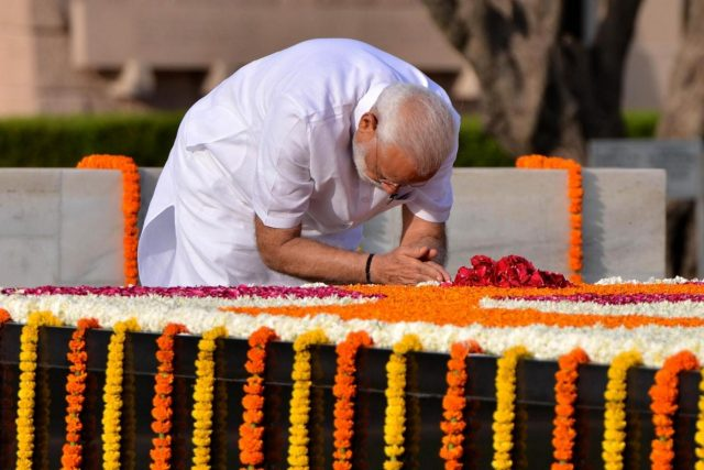 New Delhi: Prime Minister Narendra Modi paying homage to Mahatma Gandhi before his swearing in ceremony later in the day at Raj Ghat, New Delhi on May 30,2019. (Photo: IANS) by .