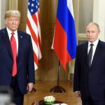 HELSINKI, July 16, 2018 (Xinhua) -- U.S. President Donald Trump (L) meets with his Russian counterpart Vladimir Putin in Helsinki, Finland, on July 16, 2018. U.S. President Donald Trump and his Russian counterpart Vladimir Putin started their first bilateral meeting here on Monday, and they are expected to discuss a wide range of issues. (Xinhua/Lehtikuva/Heikki Saukkomaa/IANS) by .