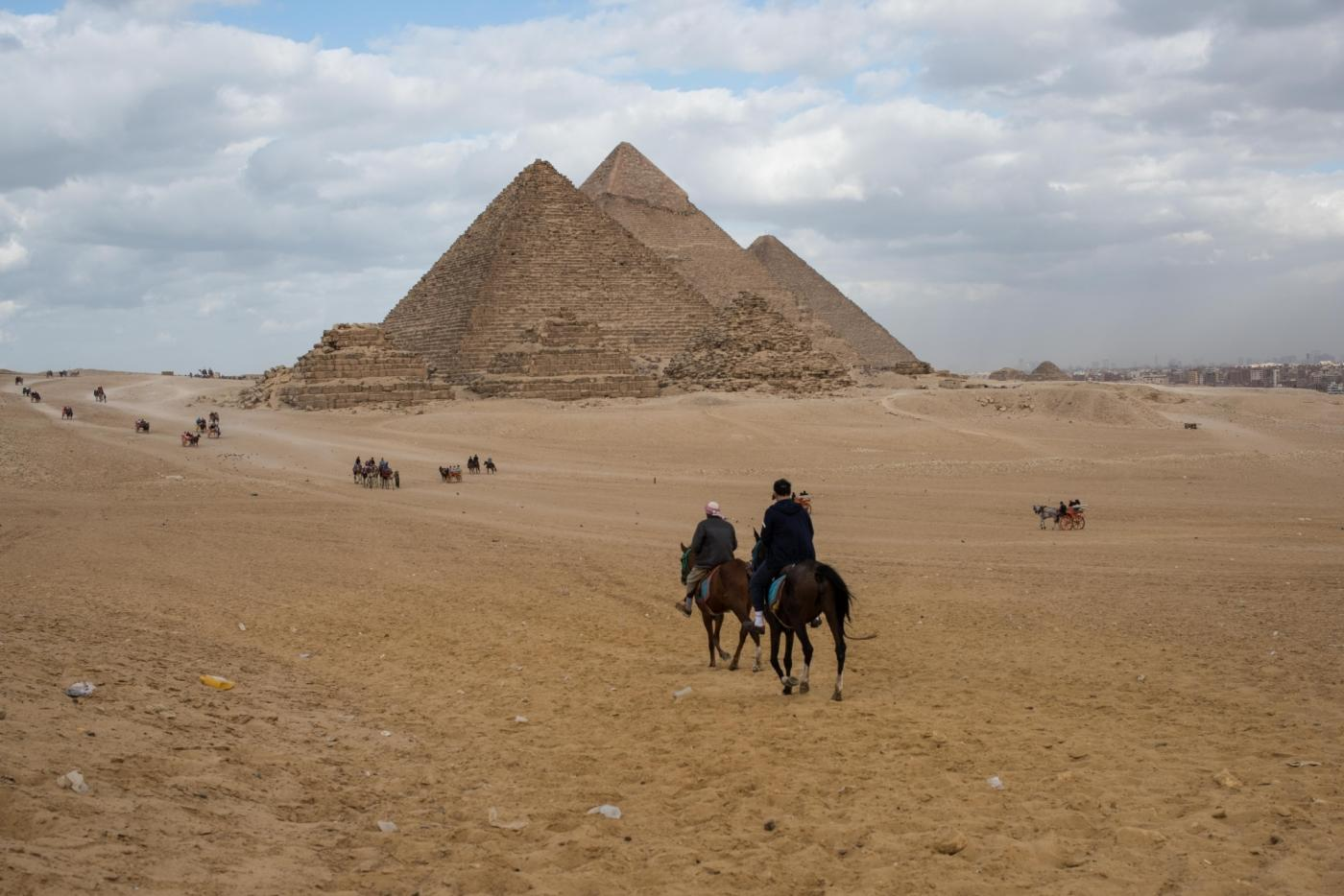 GIZA (EGYPT), Dec. 26, 2018 (Xinhua) -- Photo taken on Dec. 26, 2018 shows a view of the three Great Pyramids in Giza, Egypt. (Xinhua/Meng Tao/IANS) by .