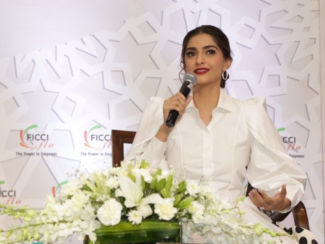 New Delhi: Actress Sonam Kapoor addresses at the 35th Annual Session of FICCI Ladies Organisation (FLO) in New Delhi, on April 13, 2019. (Photo: Amlan Paliwal/IANS) by .