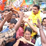 Panaji: BJP's Dayanand Sopte celebrates with party workers after emerging victorious in the Mandrem bypoll, in Panaji on May 23, 2019. (Photo: IANS) by .
