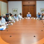 New Delhi: Prime Minister Narendra Modi chairs a meeting to review the preparedness for cyclone 'Fani' in New Delhi, on May 2, 2019. He instructed Central government officials to maintain close coordination with officials of the affected states to ensure preventive measures. Cyclone 'Fani' is expected to make landfall on the Odisha coast between 10 a.m. and 12 p.m. on Friday. (Photo: Twitter/@narendramodi) by .