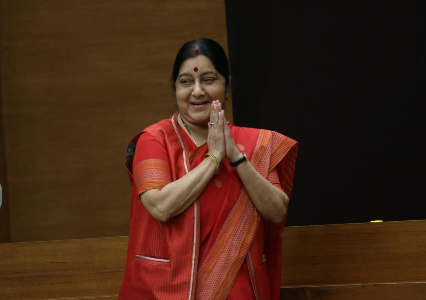 New Delhi: Union Minister and BJP leader Sushma Swaraj during a programme at party's headquarter, in New Delhi, on May 5, 2019. (Photo: IANS) by .